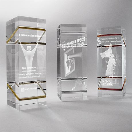 trophée 3d - verre optique - laser - bronze - argent - or