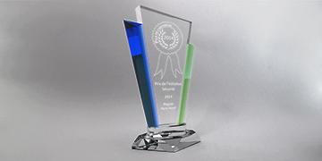 trophée vert bleu-couleur-marquage-laser