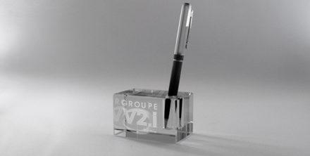 Presse-papiers-porte-stylo-verre-optique-marquage-laser-2D-3D-impression-couleur-atria