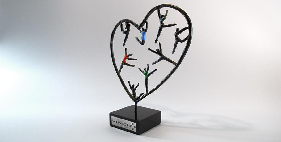 trophée coeur entreprise-métal-artisan-création française