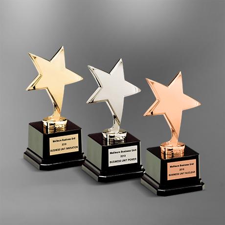 trophée-ebene-etoile-metal-argenté-socle-noir-plaque-argenté-doré-cuivré-marquage-laser
