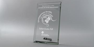 Trophée- plaque-verre-metal- marquage-laser-impression-couleur-bora