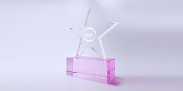 Trophée-verre-étoile-marquage-laser-impression-couleur-rosas