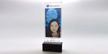 Trophée-verre-rectangulaire-socle-couleur-marquage-laser-impression-couleur-joran