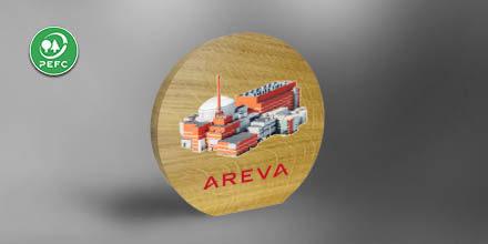 Trophée bois - Areva - objet de bureau - chene - slide