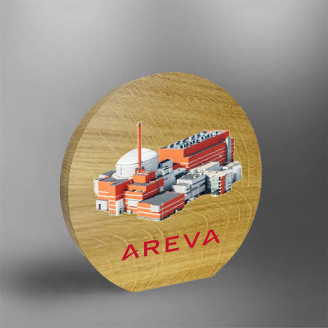 Trophée bois - Areva - objet de bureau - chene