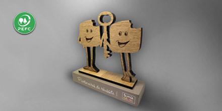 Trophée bois - La mie caline - objet de bureau - chene - slide
